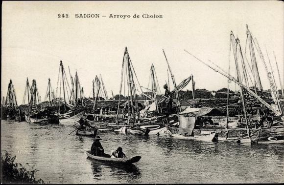 Ak Saigon Cochinchine Vietnam, Arroyo de Cholon, Flusspartie, Boote