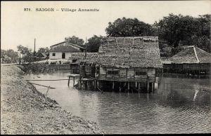 Ak Saigon Cochinchine Vietnam, Village Annamite, Dorfansicht