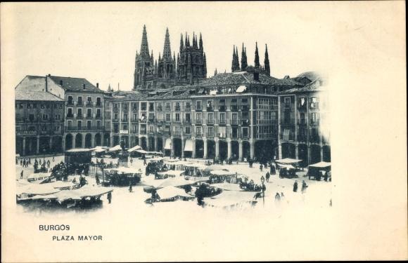 Ak Burgos Kastilien und León, Plaza Mayor, Marktplatz mit Denkmal, Kathedrale
