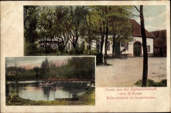 Ak Winkelshütten Borgholzhausen in Westfalen, Gartenwirtschaft von H. Kruse, Teich