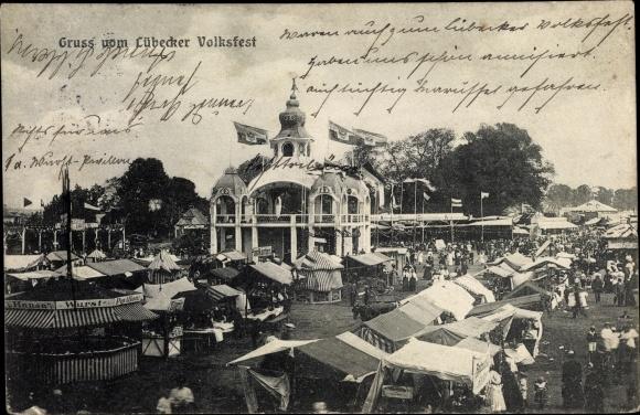 Ak Lübeck, Lübecker Volksfest, Verkaufsstände, Hansa Wurst Pavillon, Postkarten, Besucher