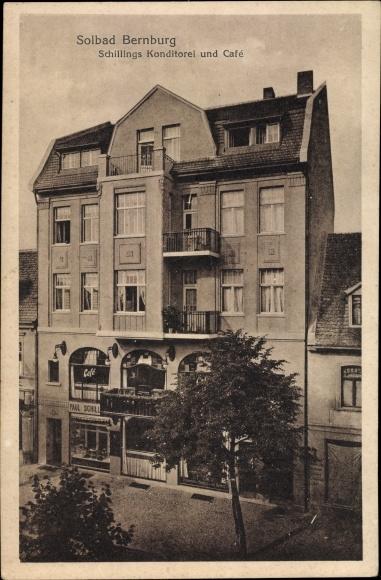 Ak Bernburg an der Saale, Konditorei und Café v. Paul Schilling, Wohnhaus