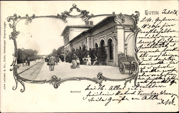 Passepartout Ak Eutin in Ostholstein, Partie am Bahnhof, Gleisseite