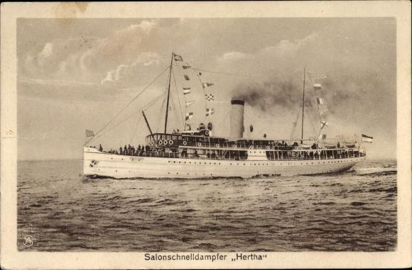Ak Dampfschiff Hertha, Reederei Braeunlich Stettin, Salonschnelldampfer