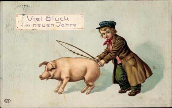 Präge Ak Glückwunsch Neujahr, Junge mit einen Schwein