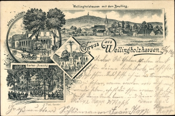 Litho Wellingholzhausen Melle in Niedersachsen, Ort mit dem Beutling, Hotel Dütting, Kriegerdenkmal