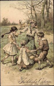 Präge Litho Glückwunsch Ostern, Kinder tanzen um Ostereier, Osterhase