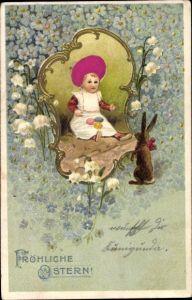 Stoff Präge Litho Glückwunsch Ostern, Kind mit Ostereiern, Osterhase, Blüten