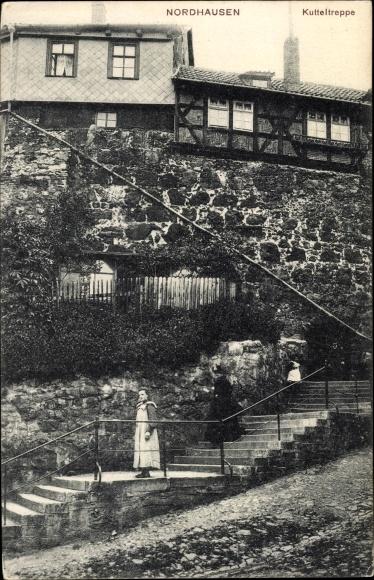 Ak Nordhausen in Thüringen, Partie auf der Kutteltreppe