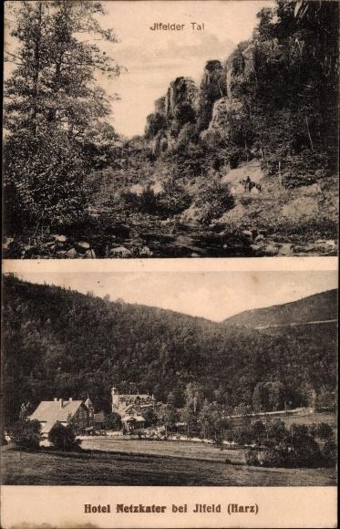 Ak Ilfeld Harztor in Thüringen, Partie im Ilfelder Tal, Blick zum Hotel Netzkater, Berge