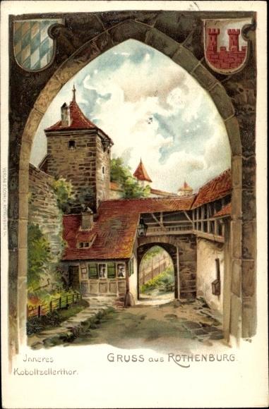Künstler Wappen Litho Rothenburg ob der Tauber Mittelfranken, Inneres Koboltzellertor, zwei Wappen