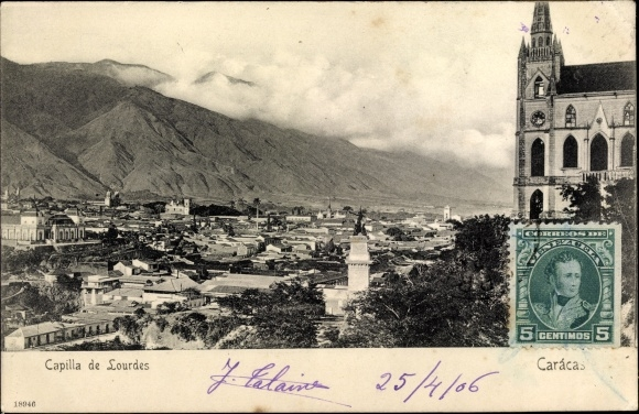 Ak Caracas Venezuela, Capilla de Lourdes, Stadtpanorama