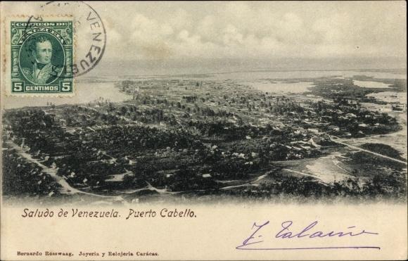 Ak Puerto Cabello Venezuela, Panoramaansicht von Ortschaft und Umgebung