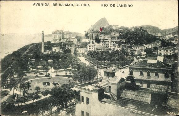 Ak Rio de Janeiro Brasilien, Avenida Beira Mar, Gloria, Teilansicht der Stadt, Park, Zuckerhut