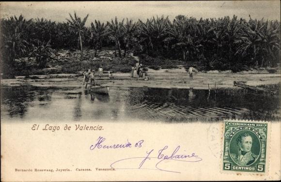 Ak Valencia Venezuela, El Lago de Valencia, Palmen am Seeufer, Boote