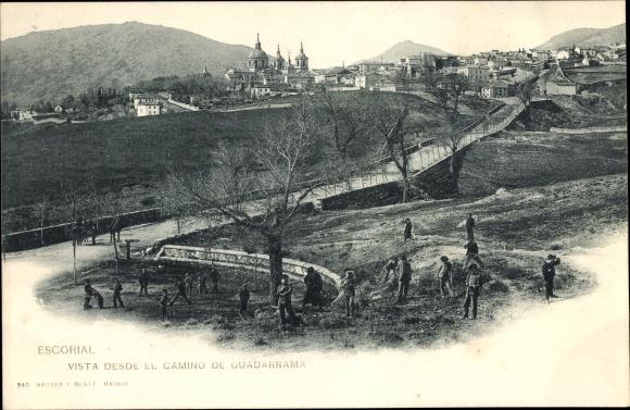 Ak San Lorenzo de El Escorial Madrid, Vista desde el Camino de Guadarrama, Stadtpanorama