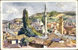 Künstler Ak Sarajevo Bosnien Herzegowina, Die Begova Moschee, Blick über die Dächer der Stadt