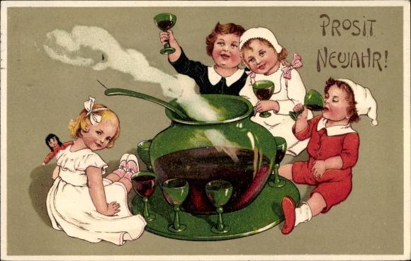 Ak Glückwunsch Neujahr, Glühweinbowle, Kinder
