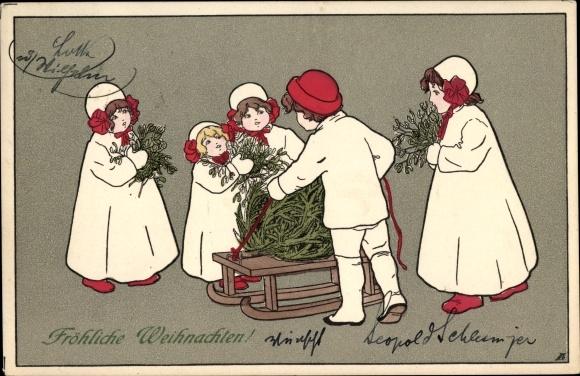 Ak Frohe Weihnachten, Kinder mit Schlitten, Tannenzweige, Mistelzweige, Munk Nr 402