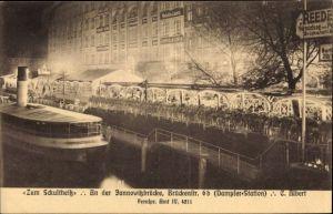 Ak Berlin Mitte, Zum Schultheiß, An der Jannowitzbrücke, Brückenstraße 6b, Dampferstation, C. Albert