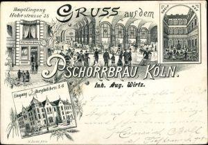 Litho Köln am Rhein, Pschorrbräu, Inh. Aug. Wirtz, Hohestraße 38
