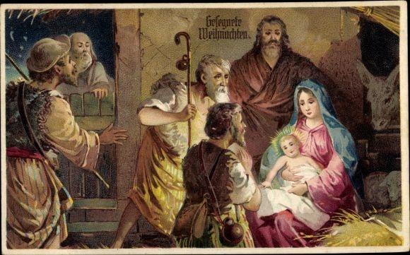 Präge Ak Frohe Weihnachten, Krippenszene, Jesuskind, Hirten
