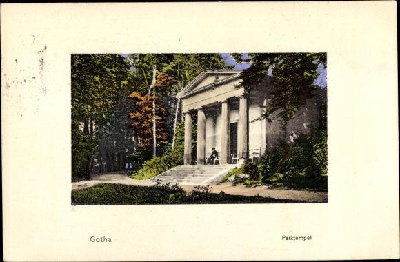 Ak Gotha im Thüringer Becken, Partie am Parktempel