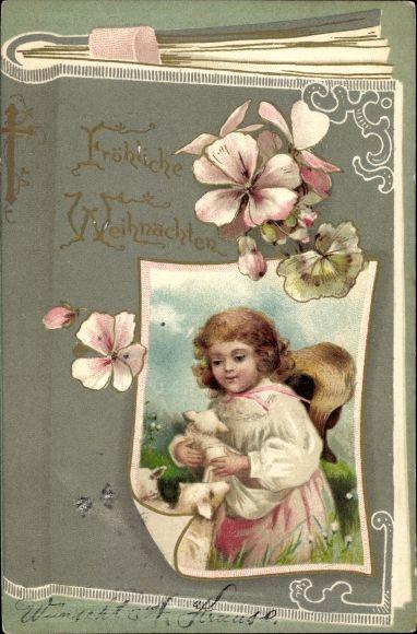 Präge Buch Litho Frohe Weihnachten, Kind, Kitsch