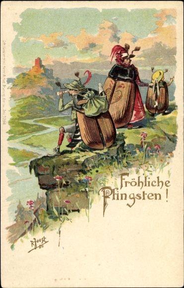 Präge Künstler Litho Joost, R., Glückwunsch Pfingsten, Maikäfer vermenschlicht