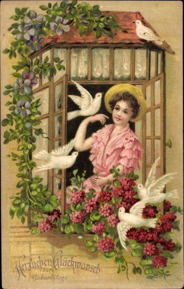 Präge Ak Glückwunsch Geburtstag, Junge Frau am Fenster, Tauben