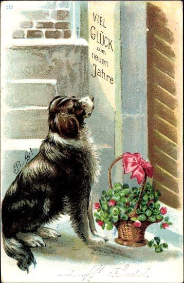 Präge Ak Glückwunsch Neujahr, Kleeblätter, Blumenkorb, Hund