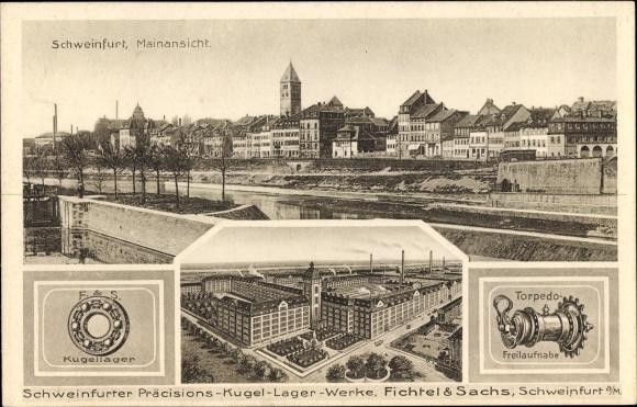 Ak Schweinfurt in Unterfranken Bayern, Mainansicht, Schweinfurter Präzisionskugellager Werke