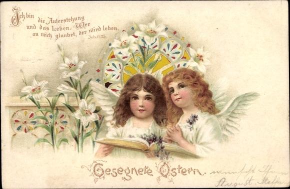 Haltgegendaslicht Litho Glückwunsch Ostern, Engel, Weiße Lilien, Joh 11,23