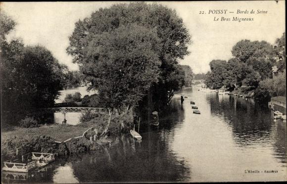 Ak Poissy Yvelines, Bords de Seine, le Bras Migneaux, Flusspartie