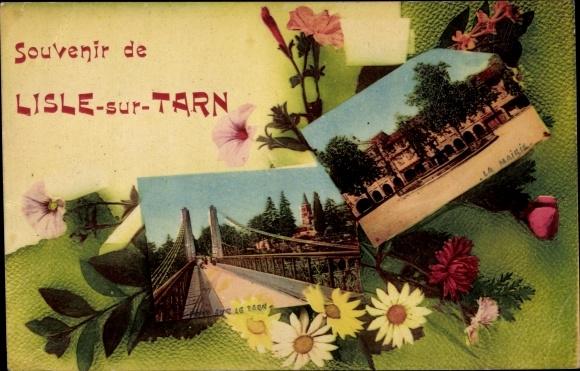 Passepartout Ak Lisle sur Tarn, La Mairie, Pont sur le Tarn, Rathaus und Brücke