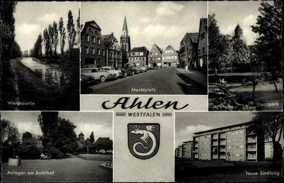Wappen Ak Ahlen im Münsterland, Weserpartie, Marktplatz, Park, Neue Siedlung, Anlagen am Bahnhof