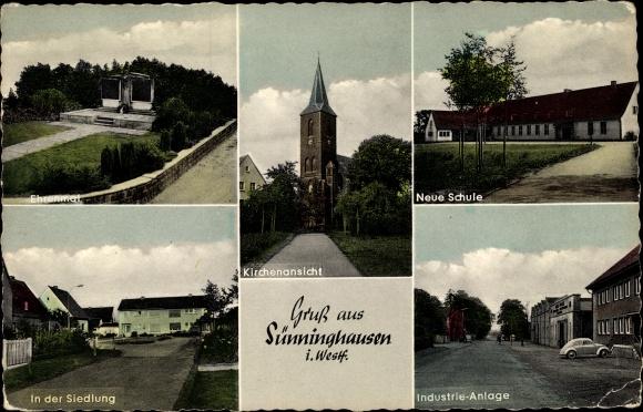 Ak Sünninghausen Oelde im Münsterland, Ehrenmal, Kirche, Schule, Industrie Anlage, Siedlung