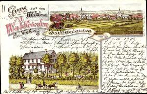 Litho Schledehausen Bissendorf in Niedersachsen, Hotel zum Waldfrieden, Inh. H.J. Wieferig