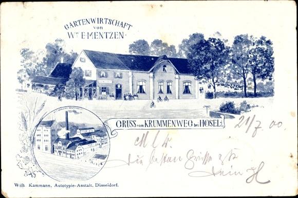 Litho Krummenweg Ratingen Nordrhein Westfalen, Gartenwirtschaft Ww. E. Mentzen, Brauerei