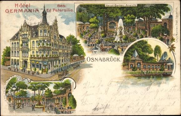 Litho Osnabrück in Niedersachsen, Hotel Germania, Bes. Ed. Petersilie