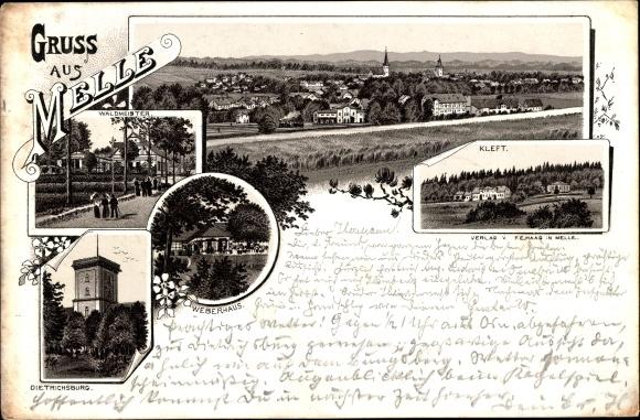 Vorläufer Litho Melle in Niedersachsen, Totalansicht, Kleft, Weberhaus, Waldmeister, Dietrichsburg