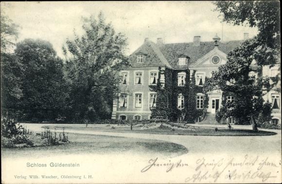 Ak Harmsdorf in Ostholstein, Schloss Güldenstein, Gutshaus, Auffahrt und Eingang