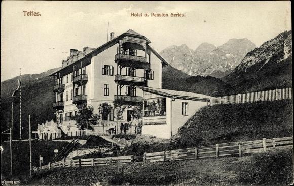 Ak Telfes im Stubai in Tirol, Hotel und Pension Serles 0