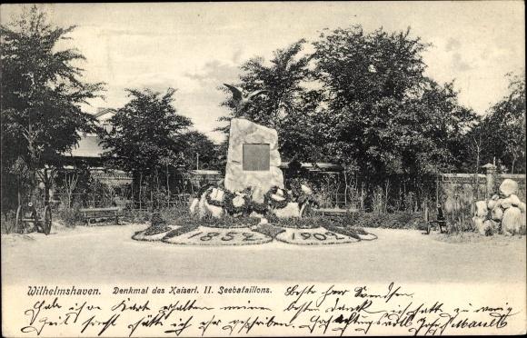 Ak Wilhelmshaven in Niedersachsen, Denkmal Kaiserliches II. Seebataillon, 1852-1902