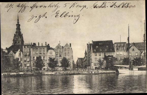 Ak Elbląg Elbing Westpreußen, Partie am Elbing, Teilansicht von der Stadt