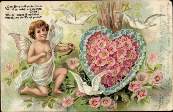 Litho Ein Herz voll zarter Liebe, Amor mit Pfeil und Bogen, Tauben, Rosenblüten