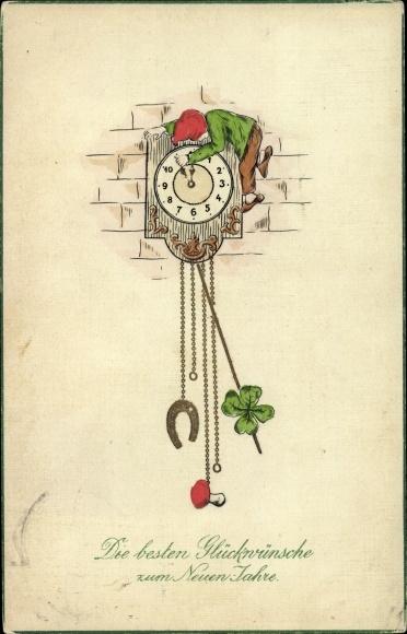 Präge Litho Glückwunsch Neujahr, Zwerg stellt eine Uhr auf Mitternacht, Kleeblatt, Pilz, Hufeisen