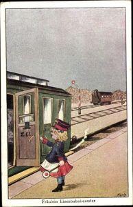 Künstler Ak Korle, Fräulein Eisenbahnbeamter, Schaffnerin auf dem Bahnsteig, Eisenbahn