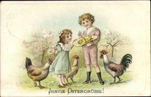 Präge Litho Glückwunsch Ostern, Kinder mit Küken in einem Hut, Hühner