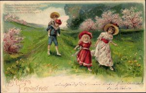 Präge Litho Glückwunsch Pfingsten, Jungen und Mädchen auf einer Frühlingswiese